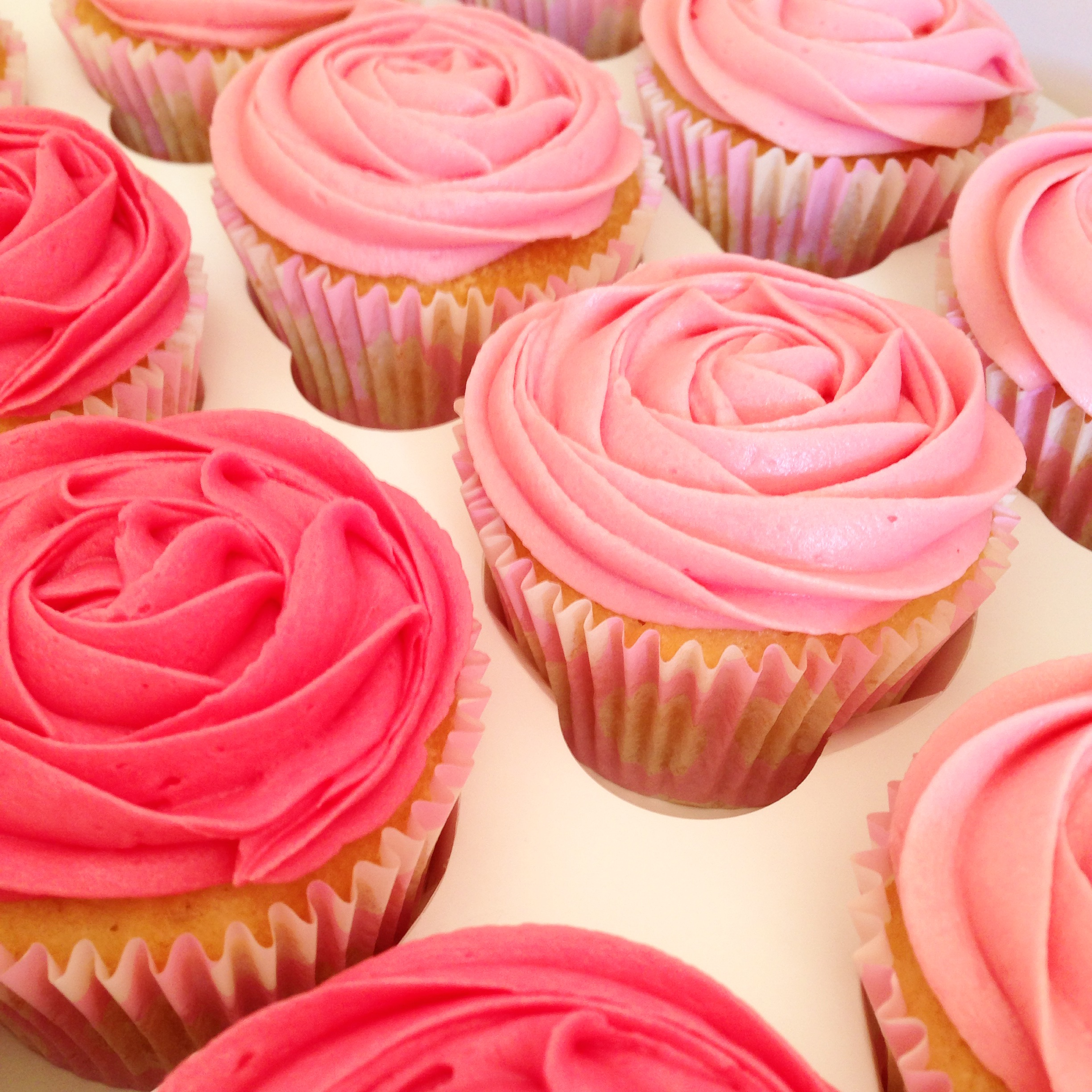Pink Ombre Buttercream Cupcakes