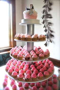 Pink Ombre Cupcake Towers