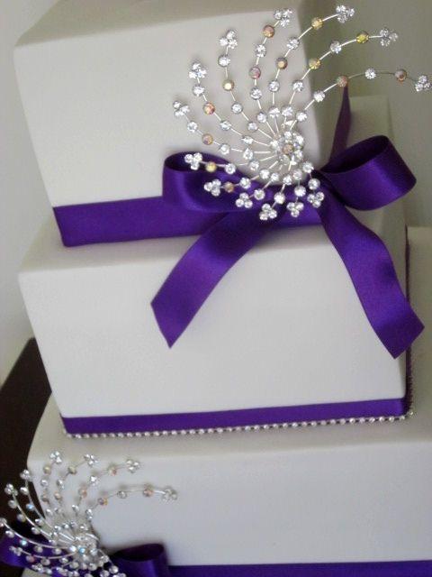 Purple and White Wedding Cake Bling