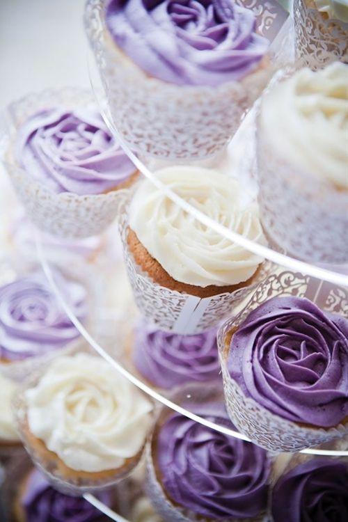 Purple Wedding Cake and Cupcakes