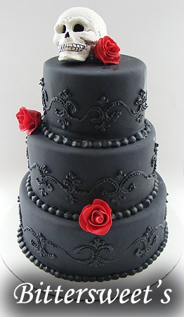 Red and Black Skull Wedding Cake