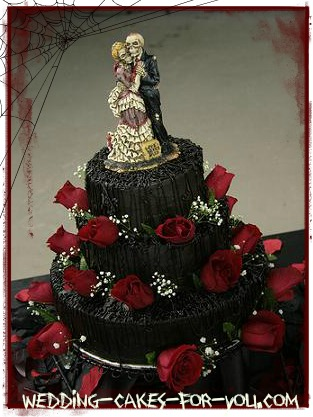 Red and Black Skull Wedding Cake