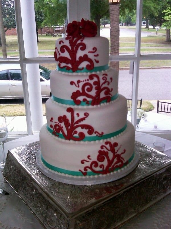 7 Photos of Turquoise And Red Wedding Cakes