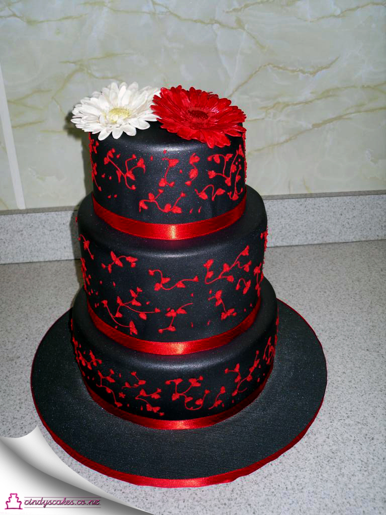 Red Black and Silver Wedding Cakes