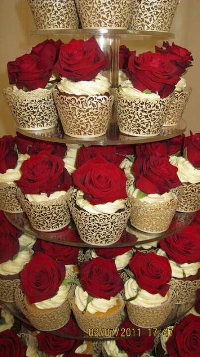 Red Rose Wedding Cupcake Tower