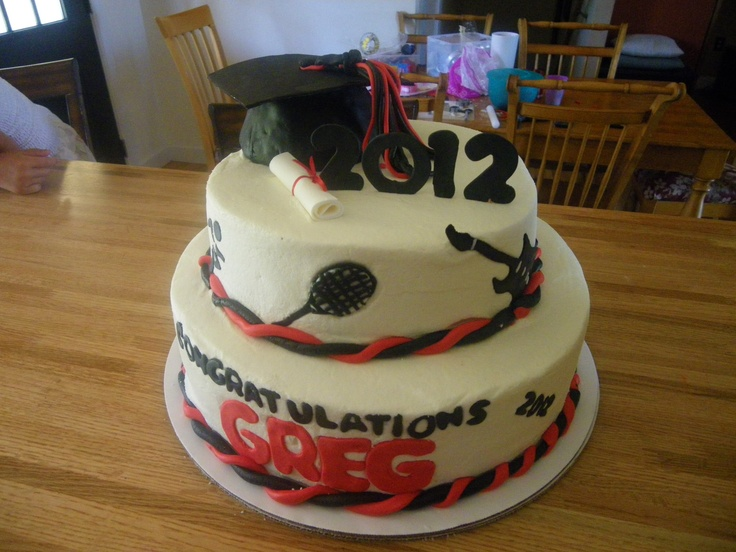 7 Photos of Red White And Black Graduation Cakes