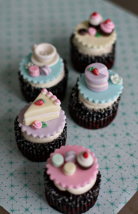 Tea Party Cupcake Toppers Fondant