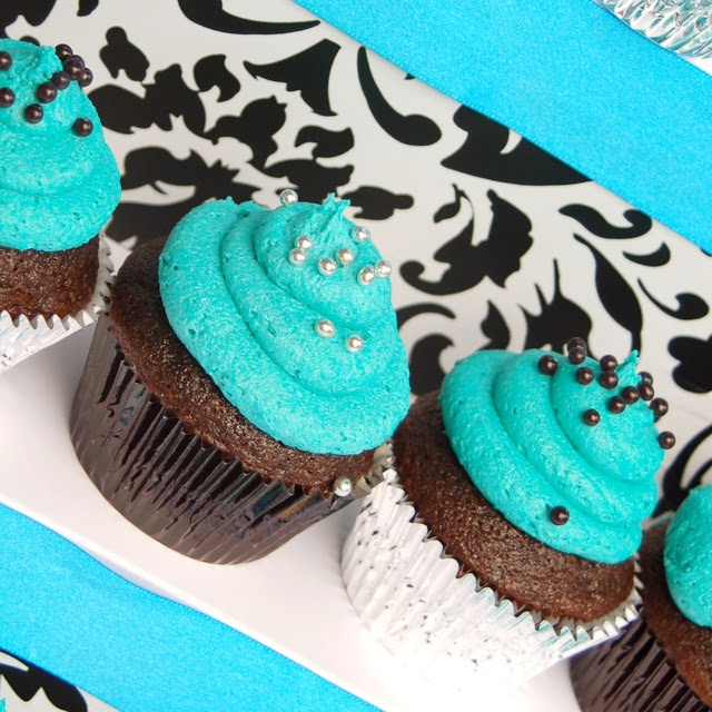 Teal and Brown Cupcakes