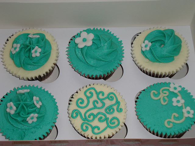 Teal Cupcakes with Chocolate Icing