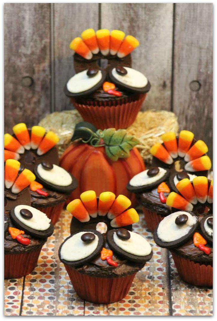 Turkey Cupcakes Thanksgiving Recipes Desserts