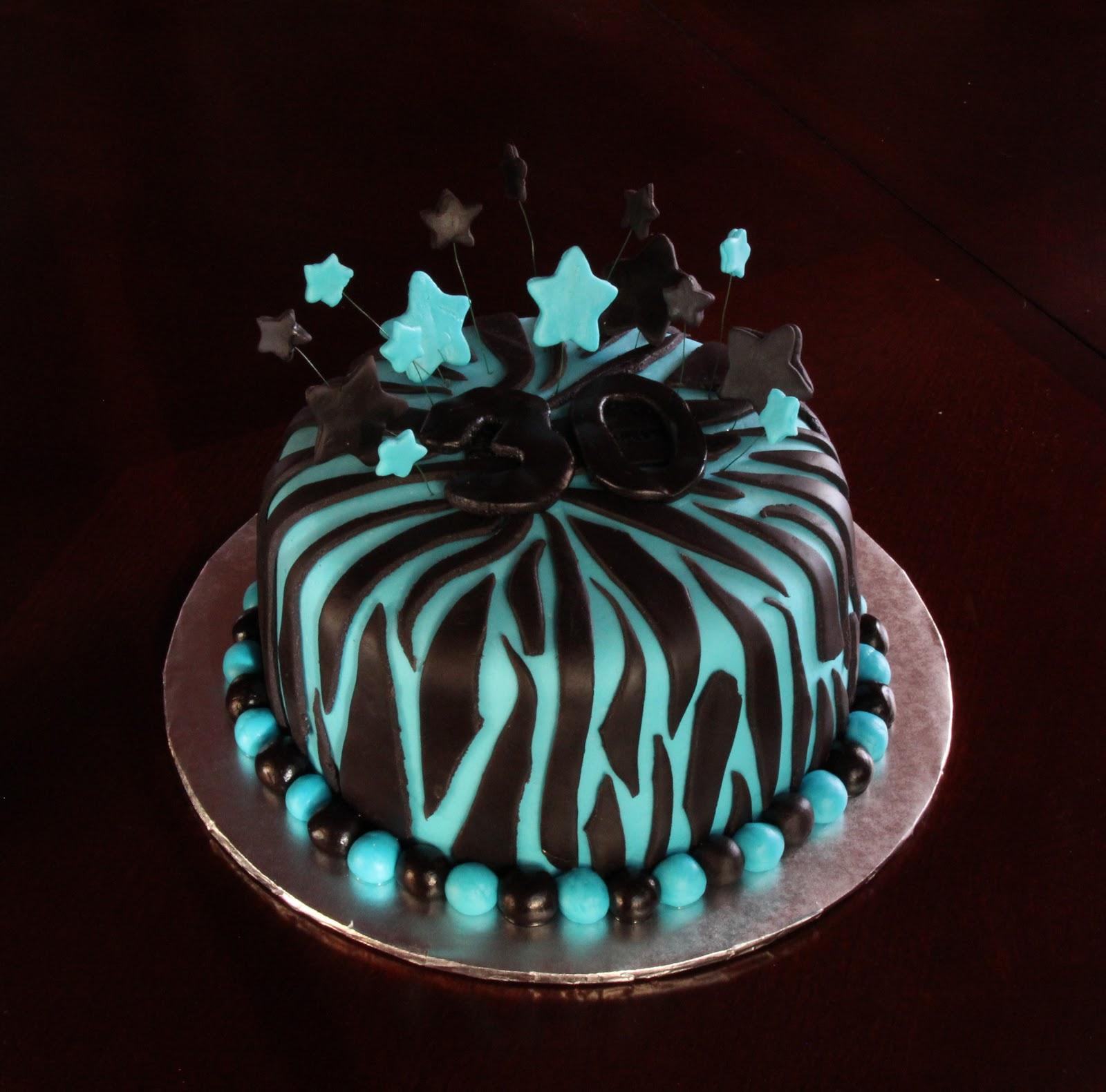 8 Photos of Turquoise Zebra Print Cakes