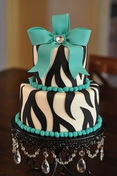 Turquoise and Zebra Cake