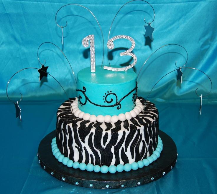 Turquoise Zebra Cake