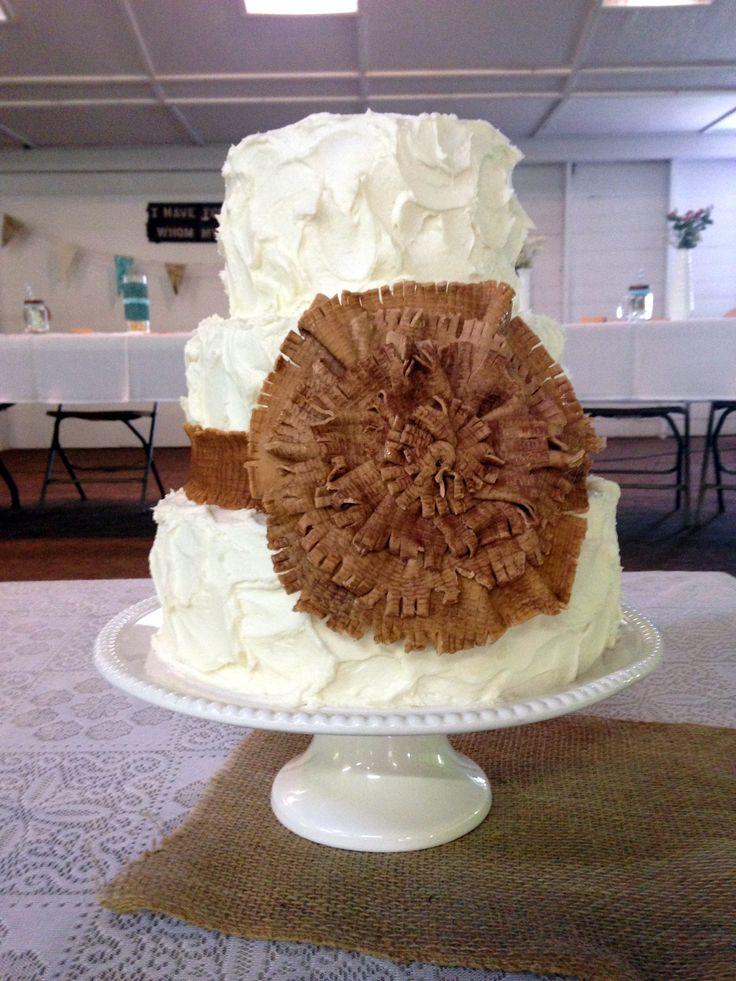 Wedding Cake Burlap Fondant Bow