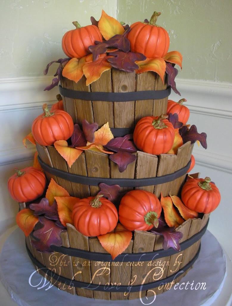 Wedding Cake Fall Idea Autumn Baskets