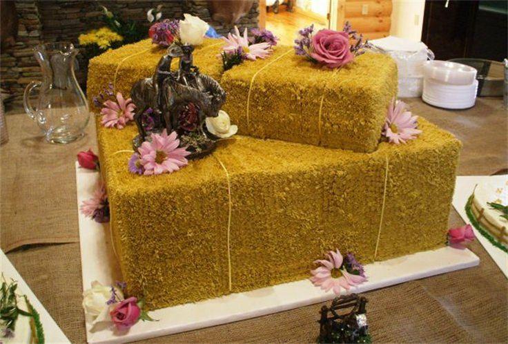 Western Hay Bale Wedding Cakes