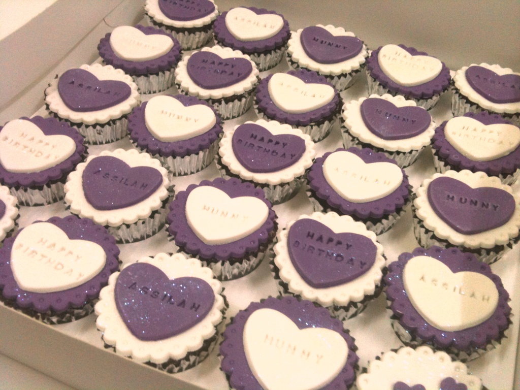 White and Purple Birthday Cupcakes