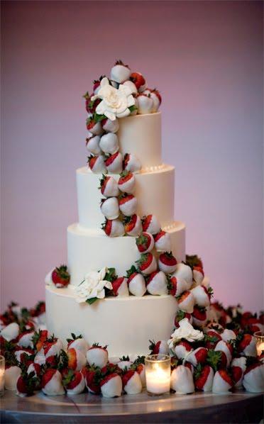 White Chocolate Covered Strawberry Wedding Cake