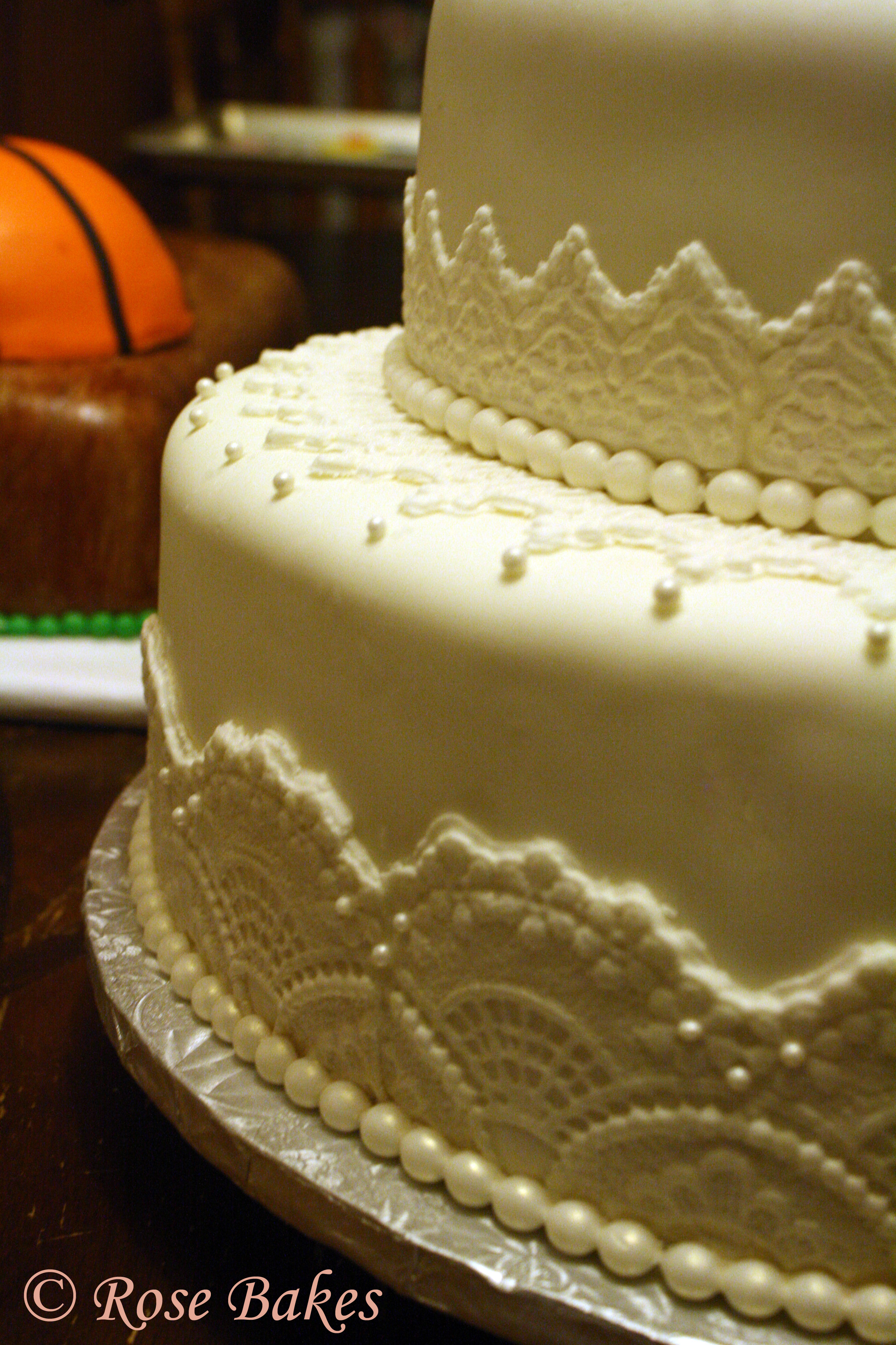 White Lace Pearls Wedding Cake