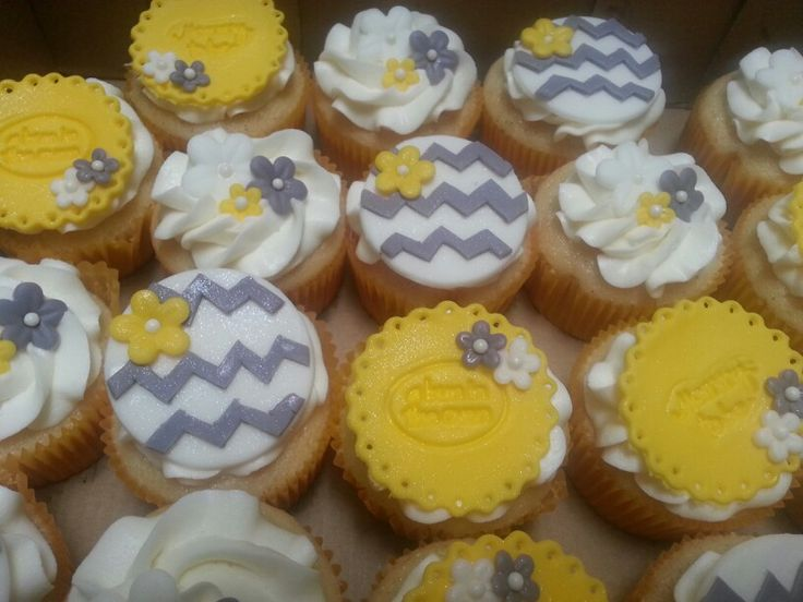 Yellow and Grey Baby Shower Cupcakes