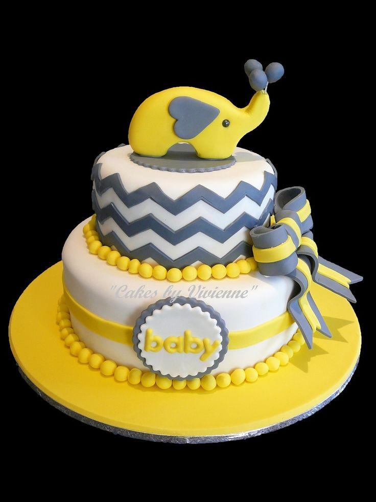 Yellow Elephant Baby Shower Cake