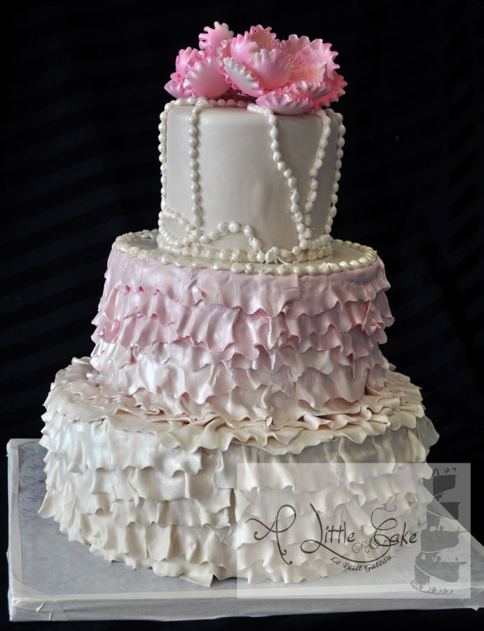 3 Tier Ruffle Wedding Cake