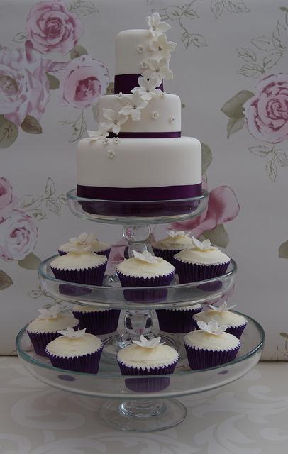 3 Tier Wedding Cake with Cupcakes
