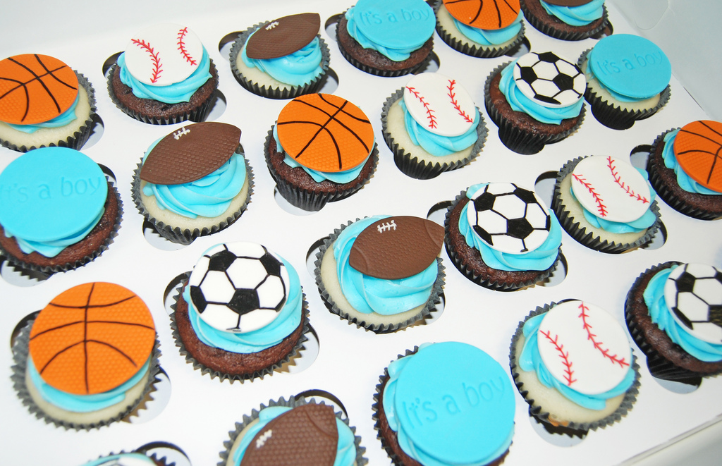 Baby Boy Shower Sports Theme Cupcakes