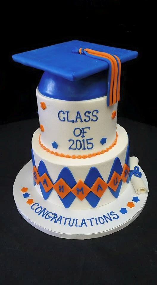 Blue and Orange Graduation Cake Ideas