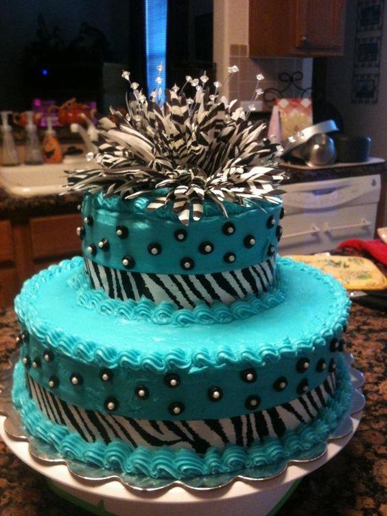 Blue and Teal Zebra Cake