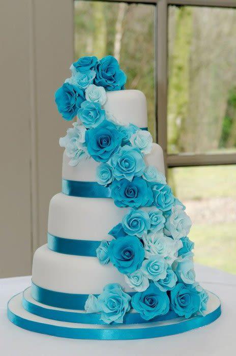 Blue and Turquoise Wedding Cake