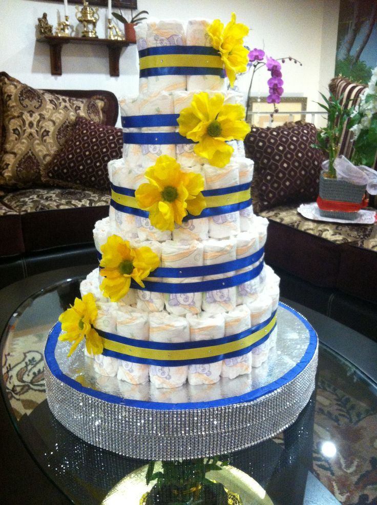 Blue and Yellow Baby Shower Cake