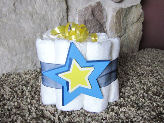 Blue and Yellow Diaper Cake