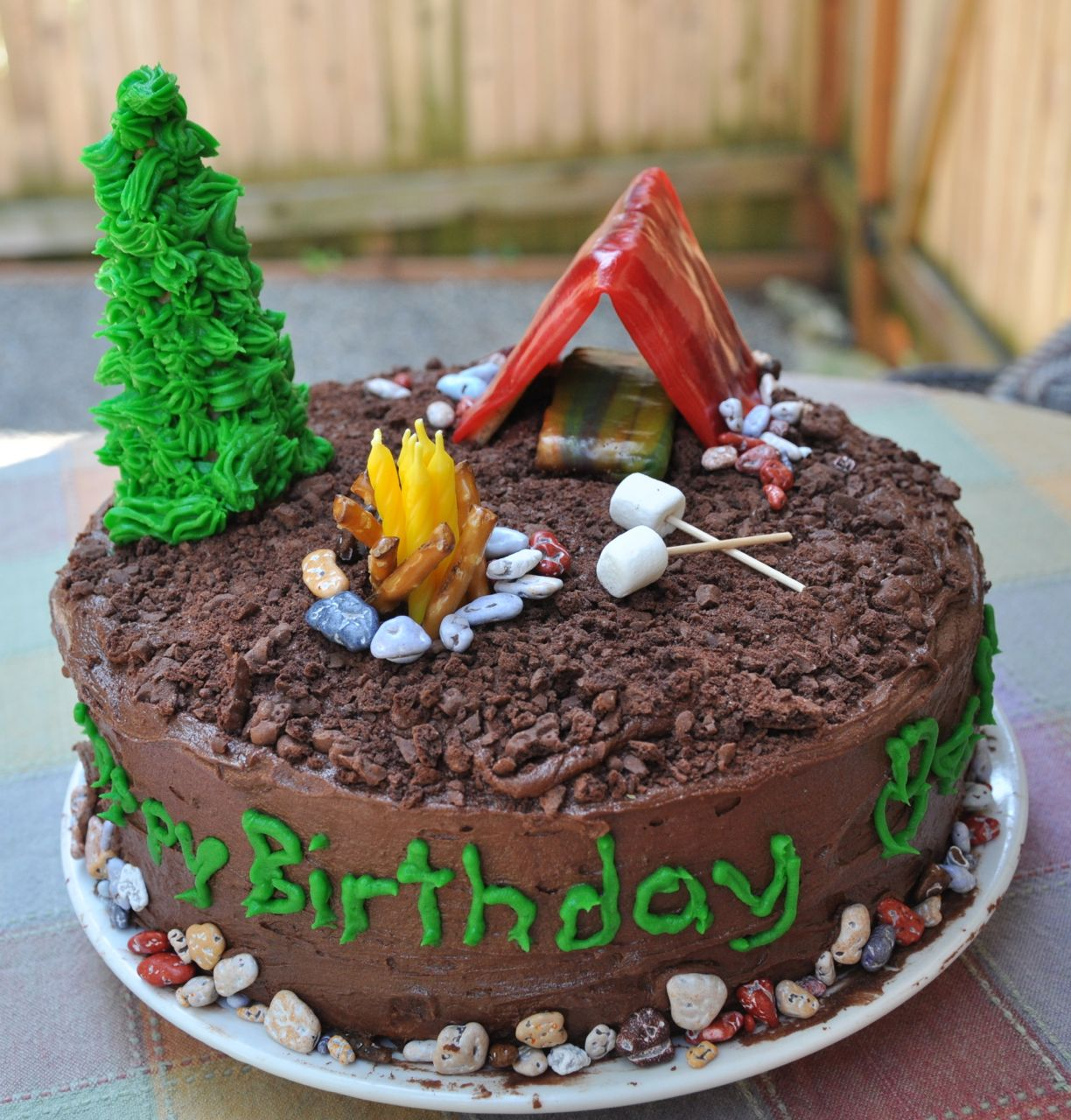 Camping Themed Birthday Party Cake