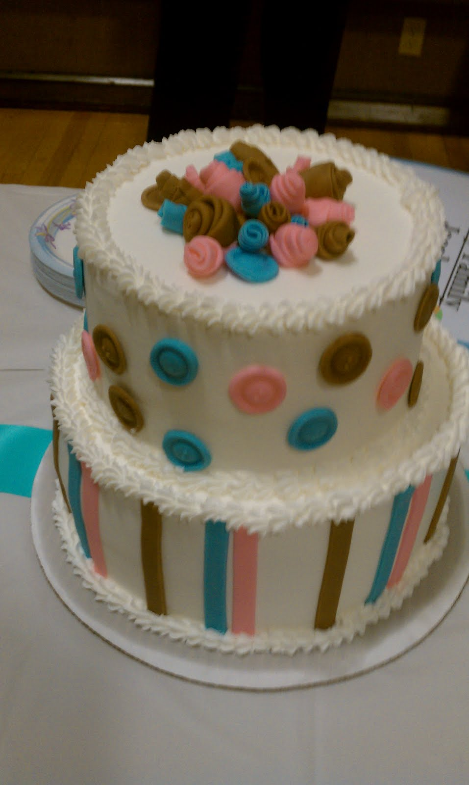 Cute as a Button Baby Shower Cake Boy