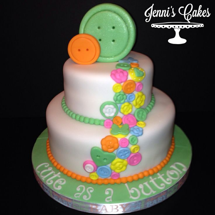 Cute as a Button Baby Shower Cake Idea