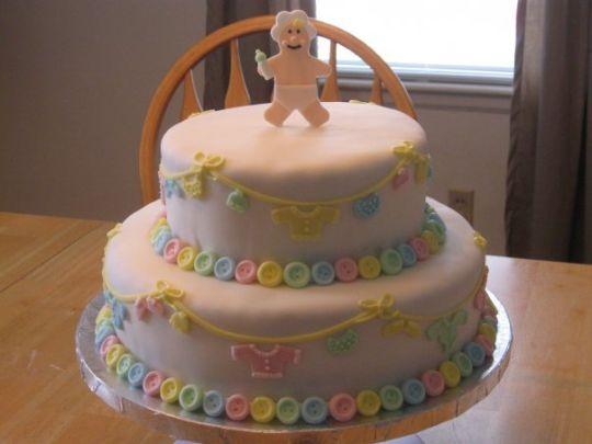 Cute Baby Shower Button Cakes