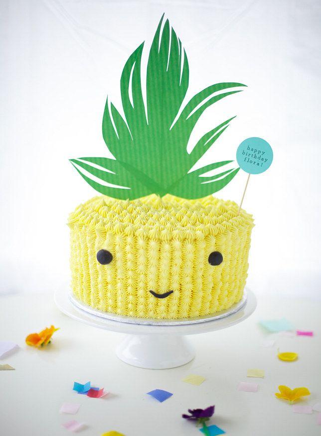 Cute Pineapple Cake Decoration