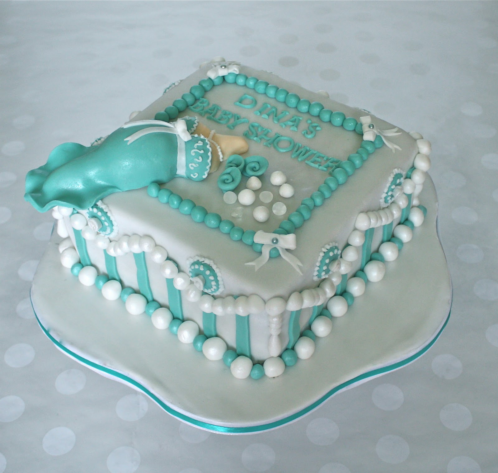 Diamonds and Pearls Baby Shower Cake
