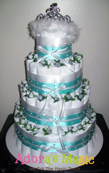 Diaper Cakes with Pearls and Diamonds