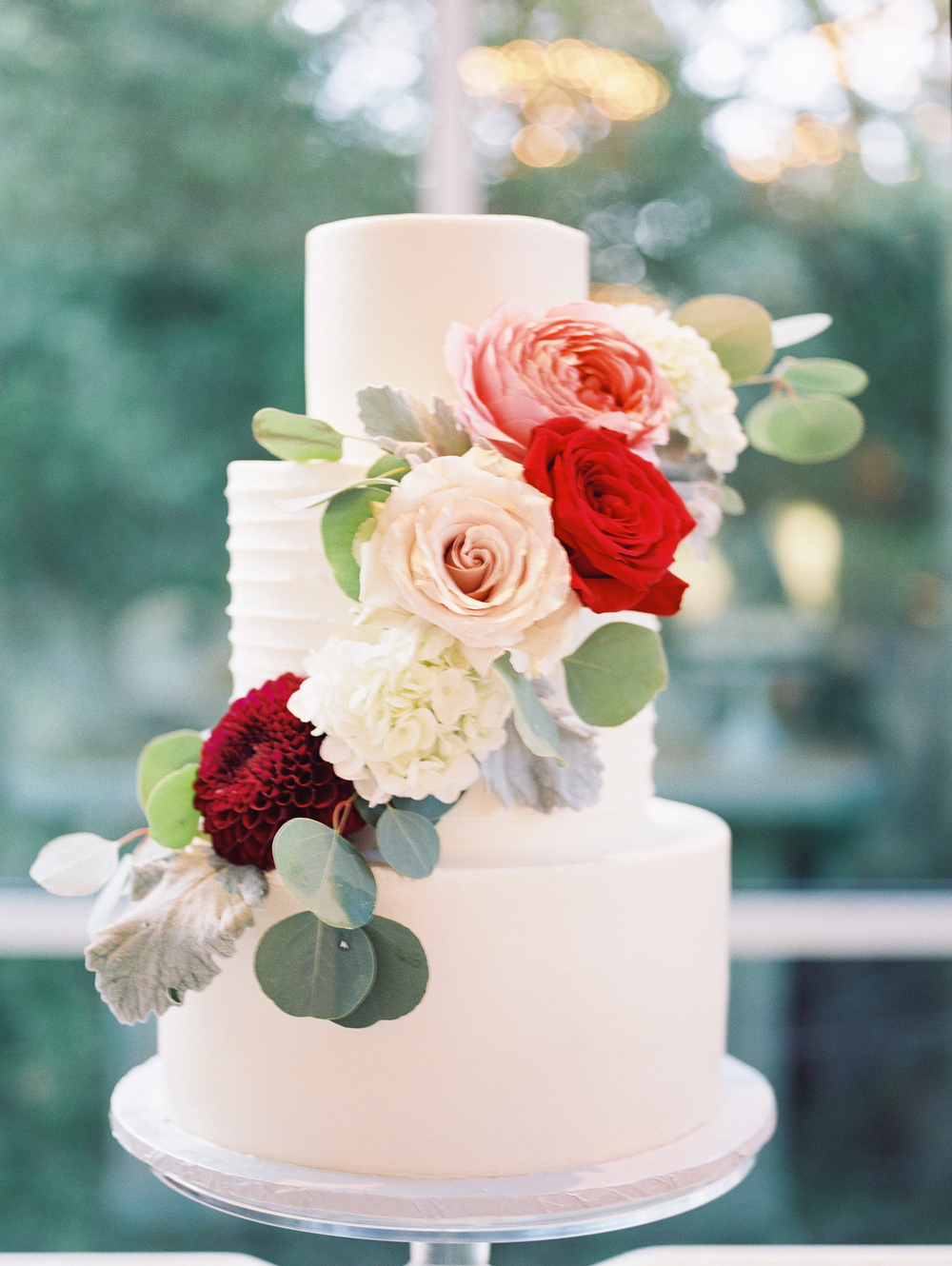 Fall Wedding Cake with Flowers