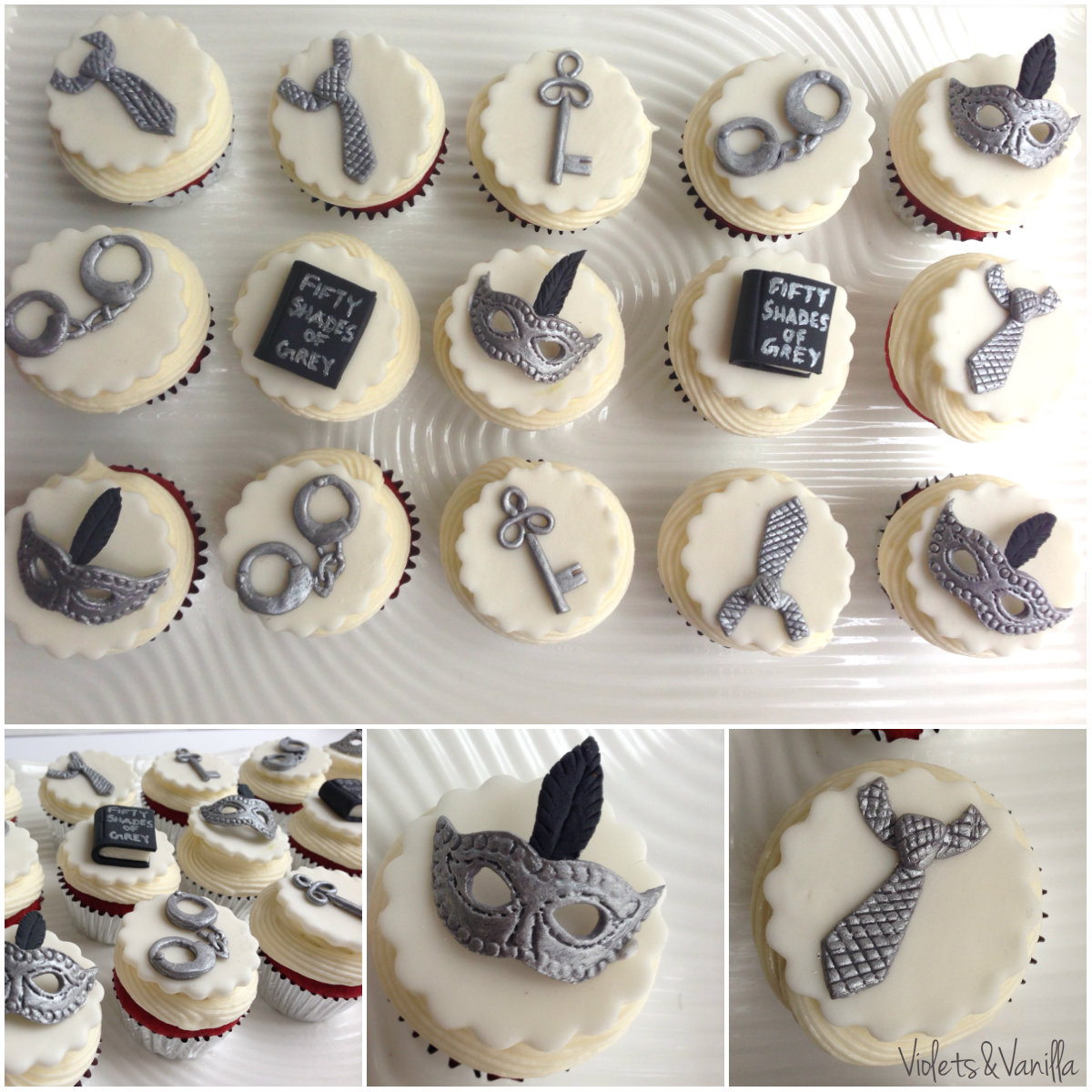 Fifty Shades of Grey Cupcake Toppers
