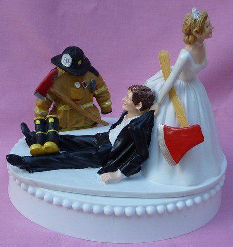 Fireman Groom Cake Topper Wedding