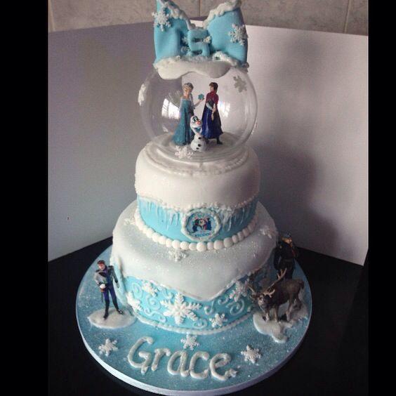 Frozen Snow Globe Birthday Cake