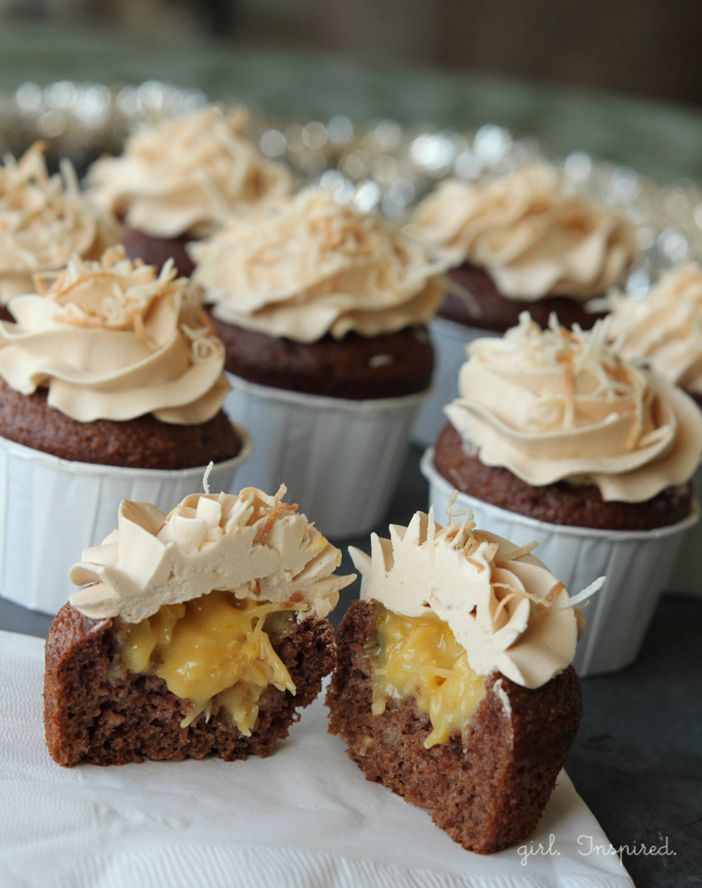 German Chocolate Cupcakes with Filling