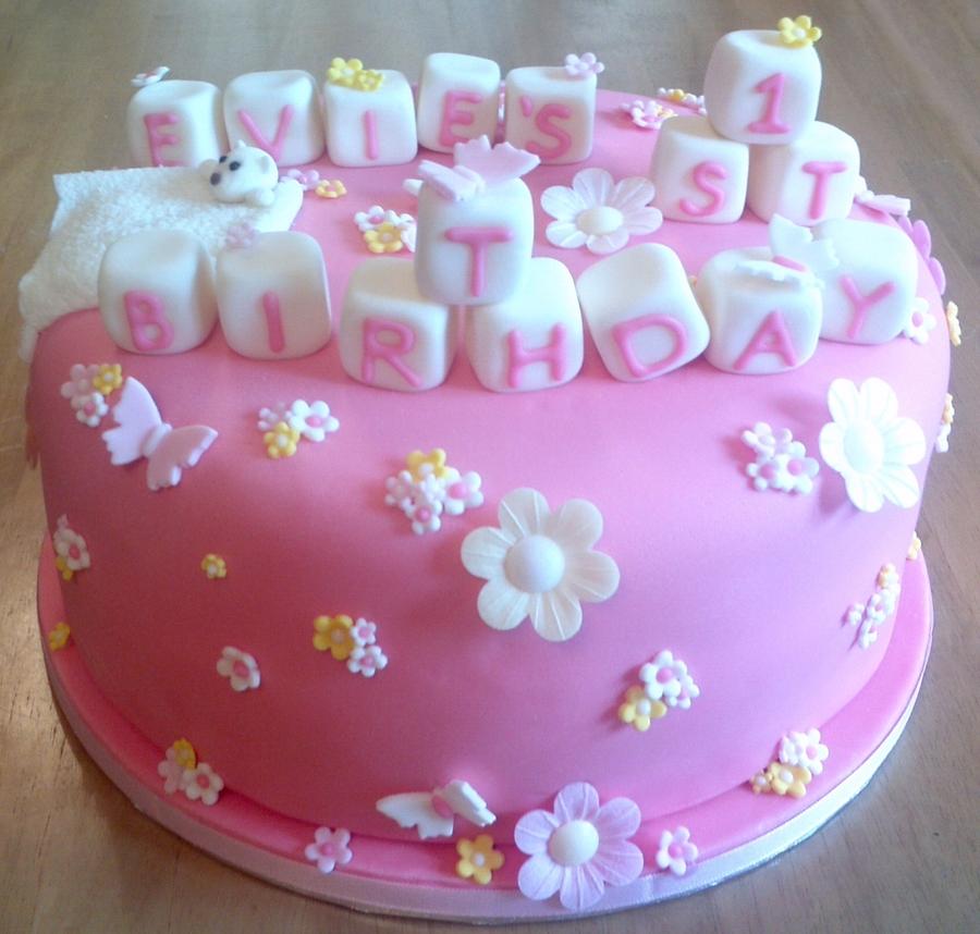 Girly First Birthday Cake