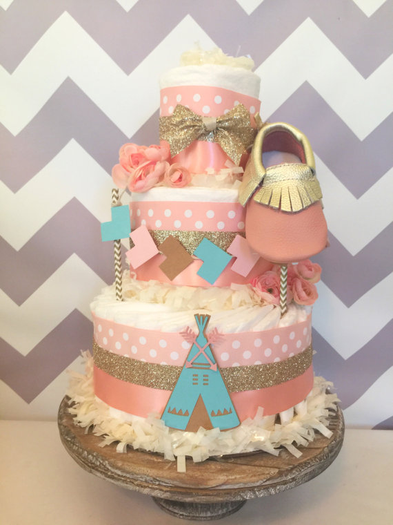 Gold and Blush Pink Baby Shower Cake