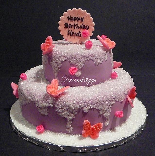 Happy Birthday Cake Pink Purple