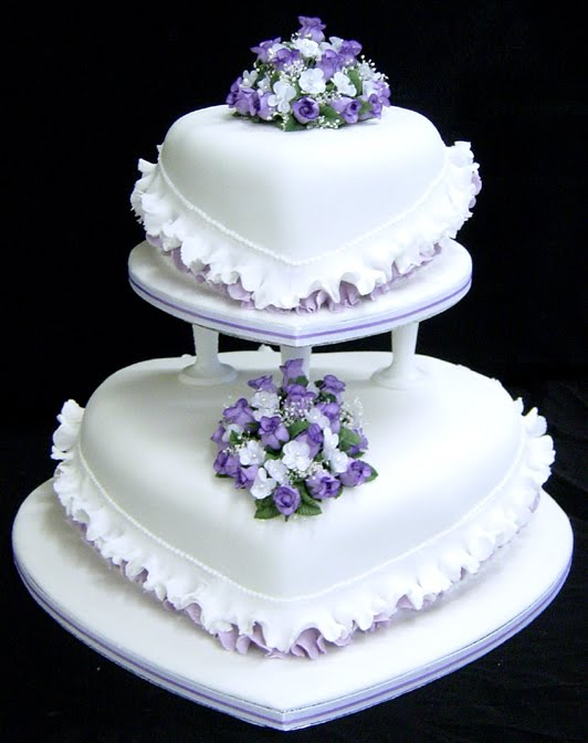 Heart Shaped Wedding Cakes with Purple