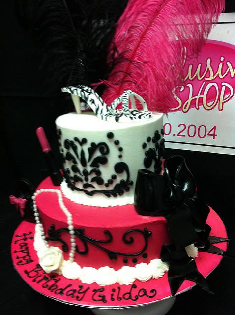Hot Pink Girly Birthday Cake